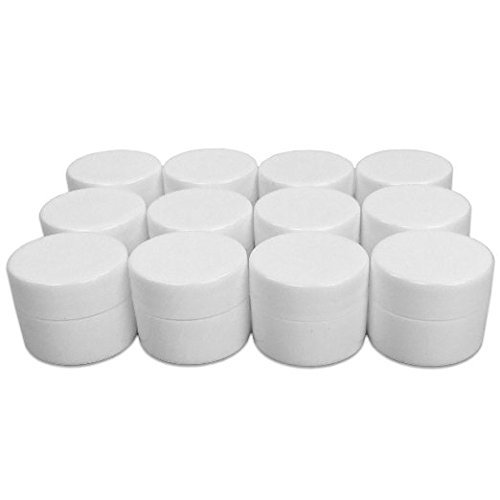Lip Balm Containers - 0.25 Ounce White Plastic Lip Balm Jars w/lids, 12 Pack
