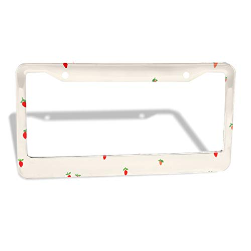 MUMO Art Strawberries License Plate Frame, 2 Pcs 4 Holes Aluminum Car Licence Plate Holder Covers for All Standard US - Sleek Car Accessories, Gorgeous Covers for License Plates