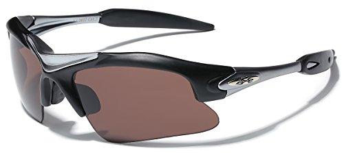 Half Frame Men's Sport Wrap Around Baseball Cycling Sunglasses - Black ()