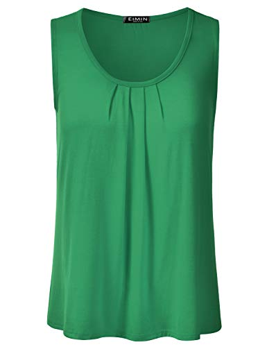 EIMIN Women's Pleated Scoop Neck Sleeveless Loose Fit Basic Soft Tank Top KellyGreen 2XL (Neck Scoop Tee Beaded)