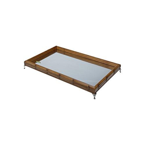 - Woodart Bamboo Style Serving Tray- Decorative Tray for Vanity, Tea, Coffee (11x7