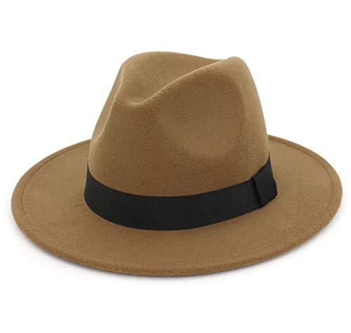 Lanzom Women Wide Brim Warm Wool Fedora Hat Retro Style Belt Panama Hat (Khaki, One Size)