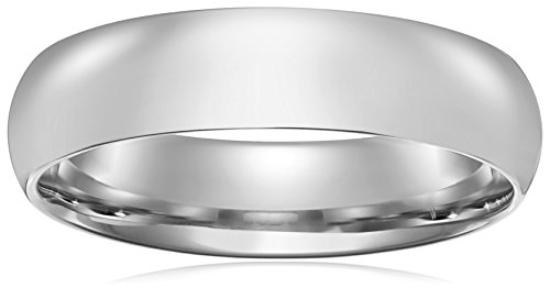 Standard Comfort-Fit 10K White Gold Band, 6mm, Size 8.5