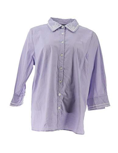 Bob Mackie Embroidered Woven Poplin Shirt Cuff SLVS Lavender 1X New A305227 Bob Mackie Embroidered Blouse