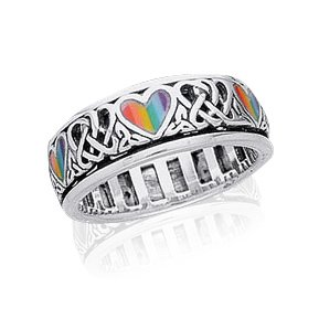 Sterling Silver Celtic Knot and Rainbow Peace Heart Spinning Ring Size 9(Sizes -