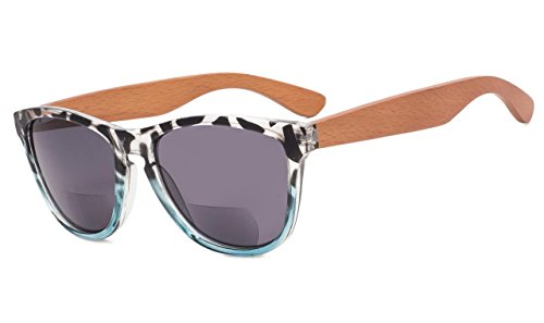 (Eyekepper Bifocal Sunglasses with Wood Temples for Women +3.00 Strength Reading Sunglasses with Wood Temples(Leopard-Blue)