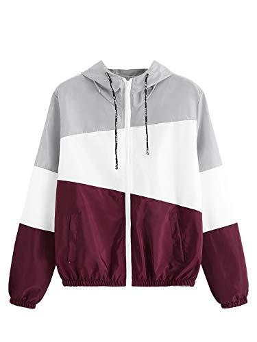 SweatyRocks Women's Casual Color Block Drawstring Hooded Windbreaker Jacket Grey Burgundy -