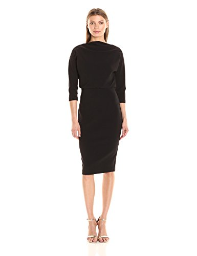 Badgley Mischka Women's 3/4 Sleeve Blouson Dress, Black, S by Badgley Mischka