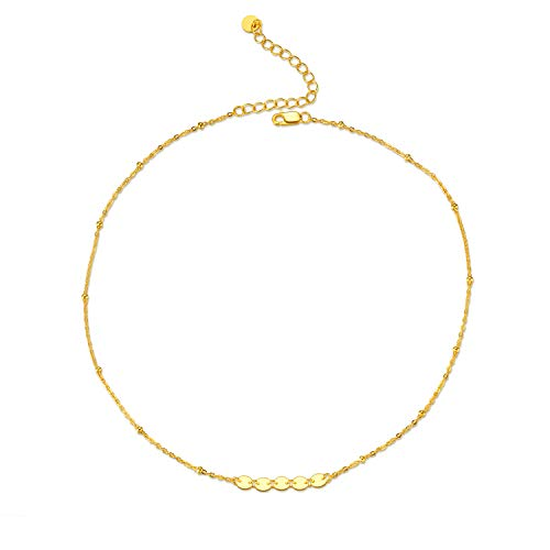 - LUHE Sterling Silver Sequin Satellite Beaded Choker Necklace Gold Plated Necklaces for Women Girls (Gold)