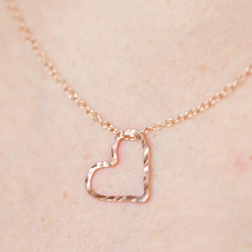 Elliejmauihammered Rose Gold Necklace For Girlfriend Cute Simple Heart Necklaces For Women Dailymail