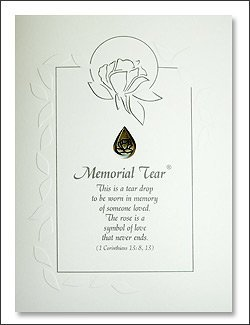 Memorial Tear Sympathy Card with Pewter Lapel Pin - Bereavement Loss Grief (Sympathy End Card)