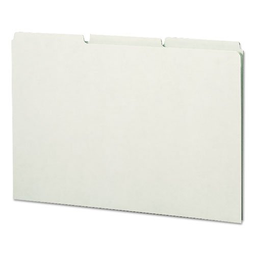 Green Recycled Tab File Guides, Blank, 1/3 Tab, Pressboard, Legal, 50/Box, Sold as 50 Each