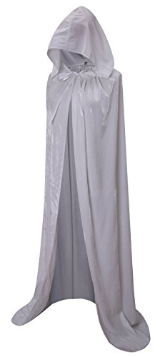 VGLOOK Full Length Hooded Cloak Long Velvet Cape for Christmas Halloween Cosplay Costumes 59inch White]()