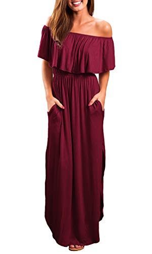OYANUS Womens Off The Shoulder Ruffle Party Dresses Summer Casual Side Split Beach Long Maxi Dress with Pockets Wine Red L