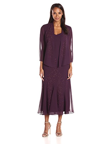 R&M Richards Women's Beaded Chiffon Jacket Dress, Eggplant, 16