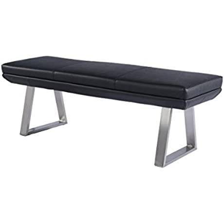 VIG Furniture Modrest Magnus Collection Modern Leatherette Dining Bench With Stainless Steel Legs Black