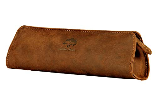 Sr Leather Zipper - Leather Pencil Case - Zippered Pen Pouch For School, Work & Office By Rustic Town (Brown)