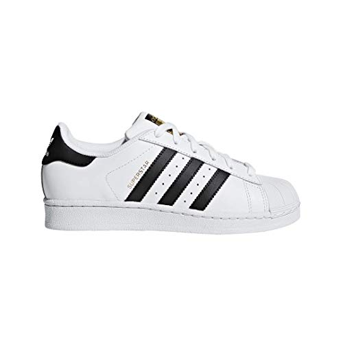 4 Childrens Corner Pattern - adidas Originals Superstar J Casual Low-Cut Basketball Sneaker (Big Kid),White/Black/White,5 M US Big Kid