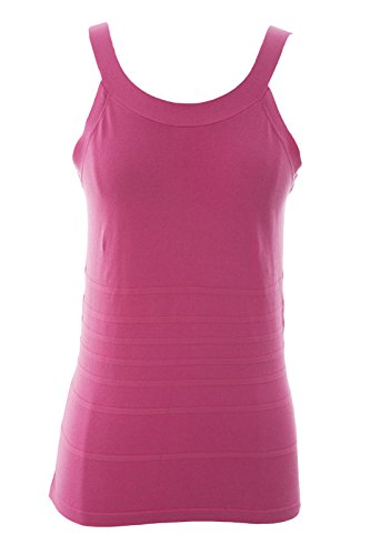 (August Silk Women's Back Cut-Out Ribbed Tank Top Petite Medium Kinetic Pink)