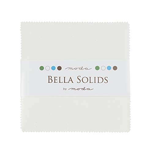 Moda Bella Solids White Bleached 9900PP-98 Charm Pack, 42 5-inch Cotton Fabric - Quilt Fabric Yellow Squares