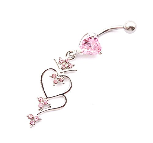 WOWOHE 14g Pink Hearts Dangling Belly Button Navel Ring Body Piercing Jewelry