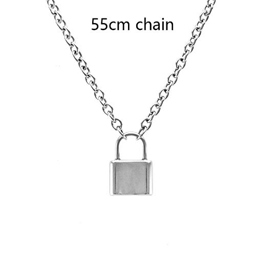 Joyhul Handmade Men Women Stainless Steel Square Lock Pendant Necklace Padlock Charms Choker Necklace,55cm ()