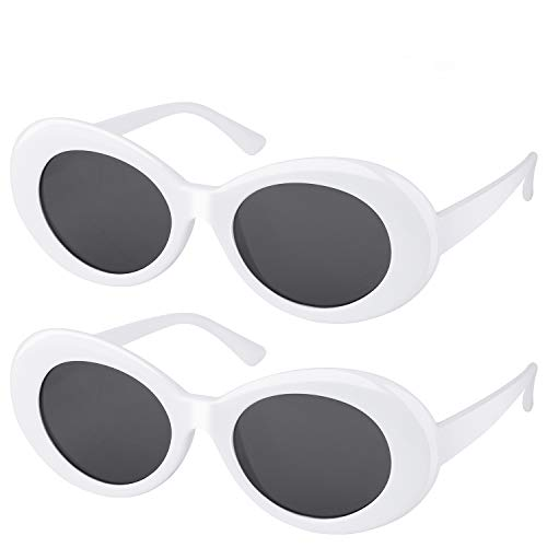 fb42b10917 Elimoons Clout Goggles Bold Retro Oval Mod Thick Frame Sunglasses Round Lens  2 Pack