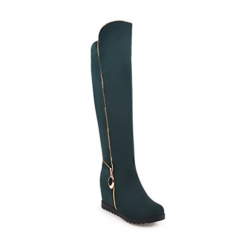 Solid On BalaMasa Green B ABL09686 Knee High 8 Urethane Heighten Womens Boots Pull M US Inside Flatform TTSRYqI