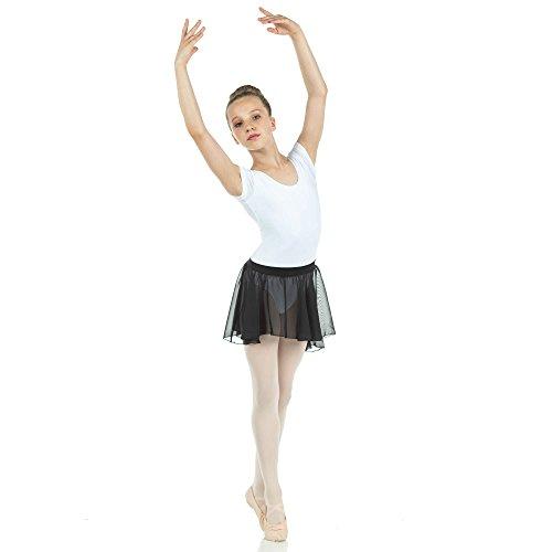 Danzcue Child Chiffon Ballet Dance Pull On Wrap Skirt, Black, L-Child