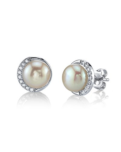 THE PEARL SOURCE 8.5-9mm Genuine White Freshwater Cultured Pearl & Cubic Zirconia Harley Earrings for Women