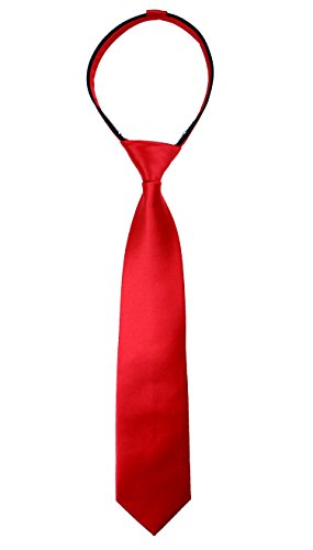 Spring Notion Boys' Satin Zipper Neck Tie Meduim True - Zipper Red