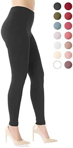 Premium Women's Fleece Lined Leggings - High Waist - Regular and Plus Size - 20+ Colors