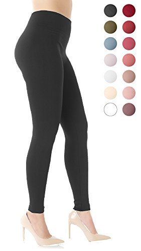 Conceited Premium Warm Fleece Lined Leggings High Waist - Regular and Plus Size - 10 Colors S/M (0-10), Black