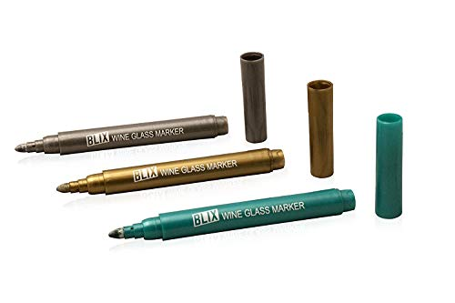(BLIX Wine Marker Erasable Personalize Metallic Color Pens - Washable Alternative Drink Glass Writer Markers 3-Pack - Perfect for Housewarming, Wine Tastings, Dinner Parties, Holidays or Any)