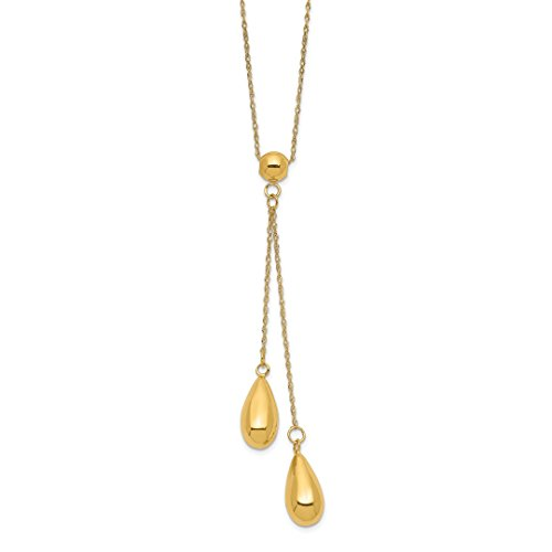 ICE CARATS 14kt Yellow Gold Dangle Bead Chain Necklace Pendant Charm Station Fine Jewelry Ideal Gifts For Women Gift Set From ()