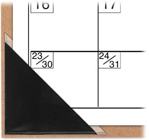 StoreSMART Peel and Stick Calendar Corners - Black Plastic - 500 Pack - STB1336BK-500 by STORE SMART (Image #4)