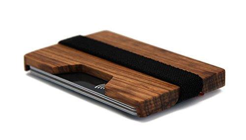 Flacher kleiner dünner Geldbeutel   LAKEFOREST Portemonnaie aus Holz für Damen und Herren   praktische Geldbörse für Reisen Freizeit und Business   Designer Geldscheinklammer   Brieftasche mit Geschenkbox