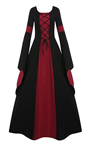 Misassy Womens Medieval Renaissance Long Costumes Dress Lace up Irish Over Cosplay Retro -