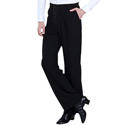 Jiyaru Men's Pants Latin Dance Tango Modern Trousers Ballroom Dancewear Costume Black Asian 33 ()