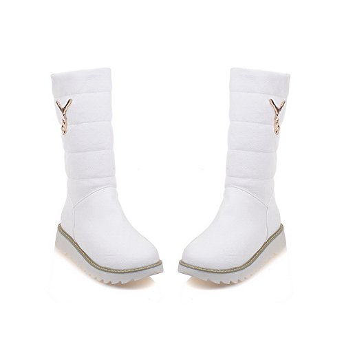 Boots Soft Heels Pull Material Top WeiPoot on Solid Mid Low White Women's 7UxggvB