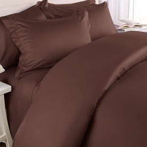 Chocolate Plain - Solid Queen Size Bed Sheet Set - 300 Thread 100% Egyptian Cotton [Fitted Sheet + Flat Sheet + 2 pillowcases]