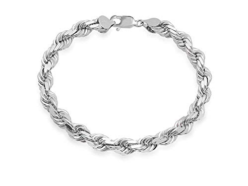 Mens Italian 925 Sterling Silver Damond Cut Rope Chain Necklace, 5MM, 6MM, 7.5MM,8.5MM- Mens Rope Chain, Sterling Silver Rope Chain Necklace For Men, Mens Rope Chain Bracelet