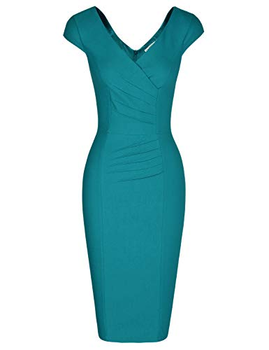 60s Sheath Dress - MUXXN Women's Summer Cap Sleeve Mid Length Pleated Sheath Retro Rockabilly Dress (Harbor Blue S)