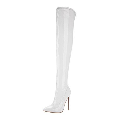 YE Damen Overkneestiefel Lack Spitze High Heels Stiletto mit Reißverschluss 12cm Absatz Elegant Schuhe Weiß