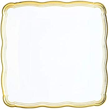 Plastic Serving Tray | Disposable Heavyweight Serving Party Platters, 6 Pack, 12 x 12 White Square Serving Trays With Gold Rim Border- Posh Setting