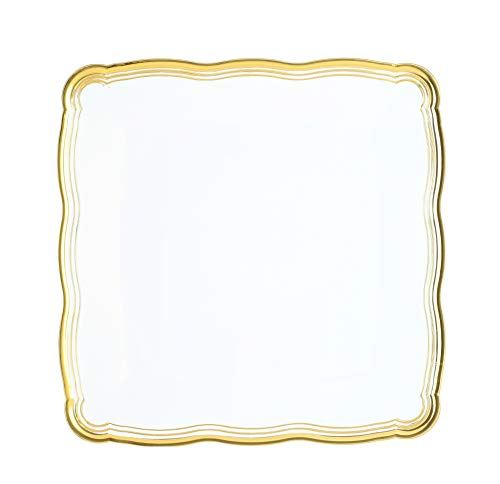 - Plastic Serving Tray | Disposable Heavyweight Serving Party Platters, 6 Pack, 12 x 12 White Square Serving Trays With Gold Rim Border- Posh Setting