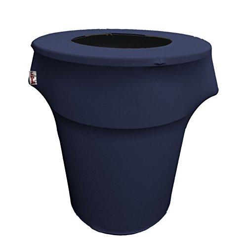 LA Linen Stretch Spandex Trash Can Cover 44-Gallon Round, Na