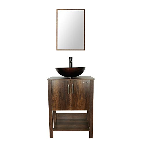 eclife 24'' Bathroom Vanity Sink Combo Brown Cabinet Round Tempered Glass Vessel - Bathroom Tempered Mirrors Glass