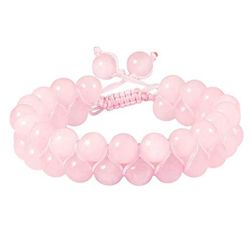 (TUMBEELLUWA Beaded Bracelet Stone 8mm Double Layers Adjustable Meditation Power Healing Crystal Bracelets,Rose Quartz)