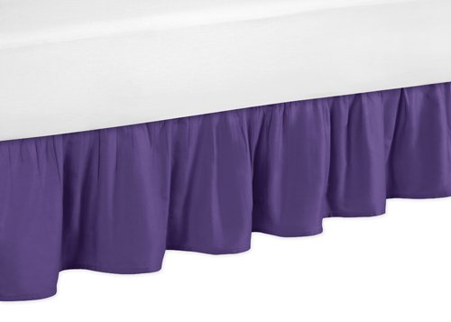 Sweet Jojo Designs Solid Purple Toddler Bed Skirt for Girls